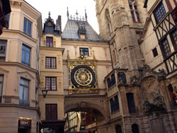 Photograph of an ornate gold clock in the city of Rouen. Photo by Danielle MacDonald