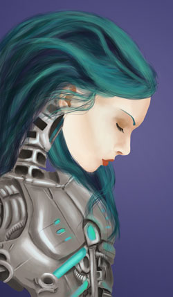 Digital painting of a female robot with turquoise hair painted in Adobe Photoshop by Danielle MacDonald
