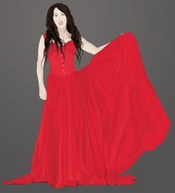 Vector of Sarah Brightman in a red dress vectored by Danielle MacDonald in Adobe Illustrator