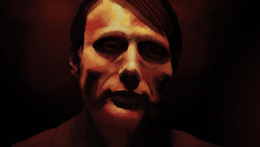 Digital painting of Mads Mikkelsen as Dr Hannibal Lecter from NBC's Hannibal tv show series, painted by Danielle MacDonald in Adobe Photoshop