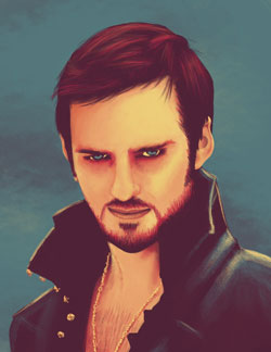 Digital painting of the character Hook from the tv series Once Upon A Time