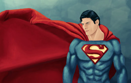 Digital Painting of Christopher Reeve as Superman painted in Adobe Photoshop by Danielle MacDonald