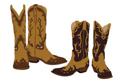 Vectors of brown Boulet cowboy boots by Danielle MacDonald vectored in Adobe Illustrator