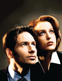 Illustrator Vector by Danielle MacDonald of Gillian Anderson as agent Dana Scully and David Duchovny as agent Fox Mulder from tv series The X-Files